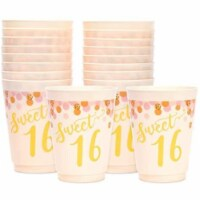 16 oz Plastic Tumbler Cups, Sweet 16 Party Supplies (Pink, 16 Pack) - PACK