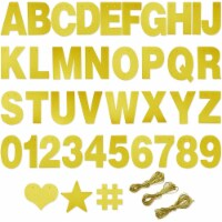 DIY Gold Glitter Customizable Banner Kit with Letters, Numbers, and Symbols (130 Pieces) - PACK