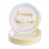 Rainbow Pastel Party Decorations, Gold Foil Happy Birthday Plates (9 In, 48 Pack) - PACK