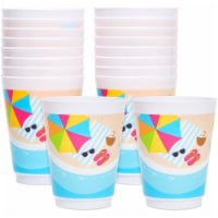 16 oz Plastic Beach Party Tumbler Cups (16 Pack) - PACK