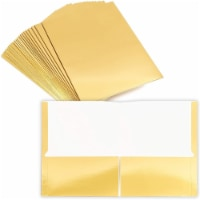 Bright Gold Metallic 2 Pocket File Folders (12 x 9.2 in, 24 Pack) - PACK