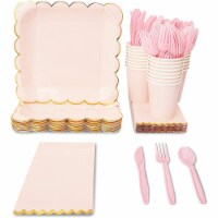 Pink Party Supplies, Scalloped Gold Foil, Baby or Bridal Shower (144 Pieces, Serves 24) - PACK
