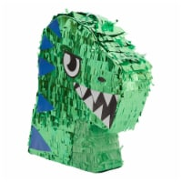 Small Green Scary T-Rex Dinosaur Pinata for Birthday Party (11 x 12.9 x 3 In) - PACK