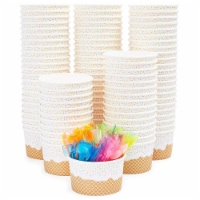 100 Serve Disposable Paper Cup Dessert Ice Cream Yogurt Bowls with Neon Spoons