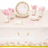 Swan Princess Pink Party Pack with Napkins, Dinnerware and Tablecloth (Serves 24, 145 Pieces)