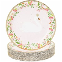 Pink Paper Plates for Swan Birthday Party (9 In, 48 Pack) - PACK