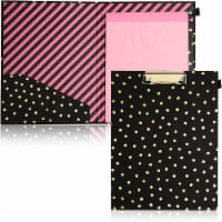 Clipboard Folio with Gold Foil Dots for Women (Black) - PACK