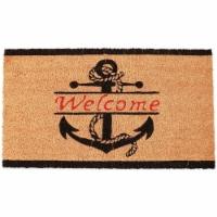 Nautical Anchor Welcome Mat for Front Door, Natural Coir Doormat (30 x 17 in) - Pack