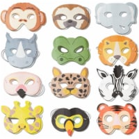 Jungle Animal Party Masks for Kids Birthday Parties and Dress Up (24 Pack)