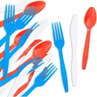 Serves 96 Patriotic 4th of July Plastic Cutlery Set, Forks Spoons Knives, 288pcs - PACK