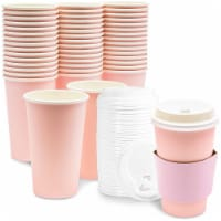 Paper Insulated Coffee Cups with Lids and Sleeves (16 oz, Blush Pink, 48 Pack)