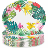 Hawaiian Luau Party Supplies, Oval Paper Plates (12.5 x 10.5 In, 48 Pack) - PACK