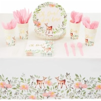 Oh Deer Dinnerware Set with Gold Foil for Baby Shower (Serves 24, 145 Pieces)