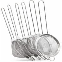 "6pc 3""x8.3"" Stainless Steel Sieve Fine Mesh Strainer Skimmer Spoon for Pasta Tea"
