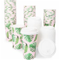 Insulated Coffee Cups with Lids, Tropical Design (16 oz, 48 Pack) - Pack