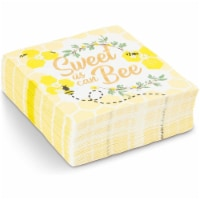 Baby Shower Paper Napkins, Bumble Bee Theme (5 x 5 Inches, 50 Pack) - Pack