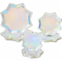 Holographic Octagon Shaped Party Plates, Iridescent Plates in 3 Sizes (72 Pack) - PACK