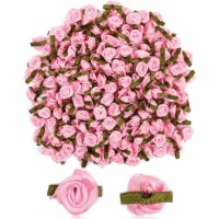 Bright Creations Pink Rose Flower Heads, Ribbon Roses (1 in, 200 Pack) - PACK