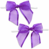 Purple Organza Bow Twist Ties for Favors and Treat Bags (1.5 Inches, 36 Pack) - PACK