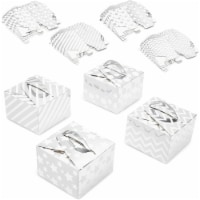 24 Pack Paper Gift Boxes for Party Favors, Metallic Silver - PACK