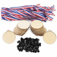 Unfinished Wooden Medals with Lanyard for Kids, Crafts (24 Pack) - PACK