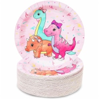Girl's Birthday Pink Dinosaur Party Supplies, Paper Plates (9 Inches, 80 Pack) - PACK