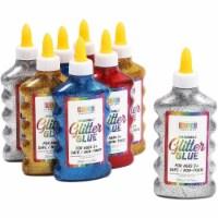 Metallic Glitter Glue Bottles, 4 Rainbow Colors (6.76 oz, 8 Pack) - PACK