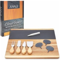 Cheese Board Set with Slate Inlay, Knife and Signs (14 x 11 inches, 9 Pieces)