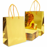 Gold Gift Bags with Handles, Small Gift Bag (9.25 x 8 x 4.25 in, 24 Pack) - PACK