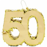 Mini Number 50 Piñata for 50th Birthday, Anniversary, Gold Foil (7.4 x 6.2 x 2 In) - PACK