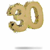 Mini Pinata for 30th Birthday Party, Anniversary, Gold Foil Number 30 (6 x 6 x 2 In) - PACK