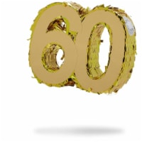 Mini Gold Foil Pinata for 60th Birthday Party, Anniversary, Number 60 (7.8 x 6.5 x 2 In) - PACK