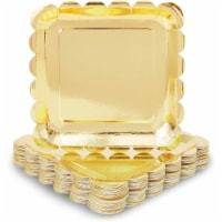 Metallic Gold Foil Square Paper Plates, Scalloped Edge (9 In, 48 Pack) - PACK