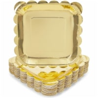 Gold Foil Square Paper Plates Scalloped Edge (7 In, 48 Pack) - PACK