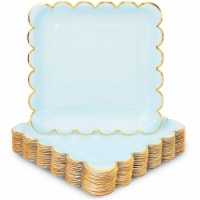 Pastel Blue Square Paper Plates, Gold Foil Scalloped Edge (9 In, 48 Pack) - PACK