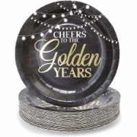 Paper Plates for Retirement Party Supplies, Gold Foil (Black, 9 In, 48 Pack) - PACK