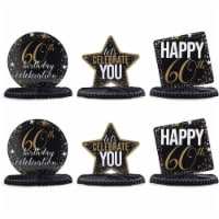 60th Birthday Party Honeycomb Centerpiece Decoration (12 x 11 In, 6 Pack) - PACK