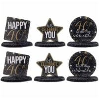 40th Birthday Party Honeycomb Centerpiece Decoration (12 x 11 In, 6 Pack) - PACK