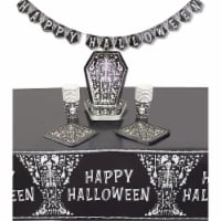 Halloween Tombstone Party Dinnerware Set, Table Cover, Banner (74 Pieces) - PACK
