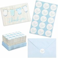 Boy Baby Shower Thank You Cards with Envelopes and Stickers (6 x 4 In, 60 Pack) - PACK