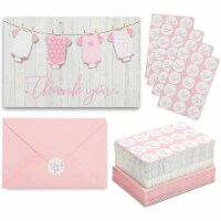 Girl Baby Shower Thank You Cards with Envelopes and Stickers (6 x 4 In, 60 Pack) - PACK