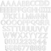 White Alphabet Letter and Number Iron On Patches for Clothing (82 Pieces) - PACK