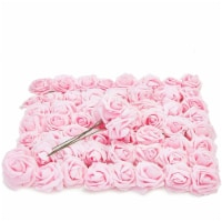 ose Flower Heads with Stems, Light Pink Roses Artificial Flowers (3 in, 60 Pcs) - PACK