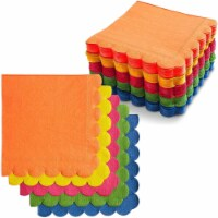 Colorful Scalloped Paper Napkins for Parties (6.5 x 6.5 In, 5 Colors, 150 Pack) - PACK