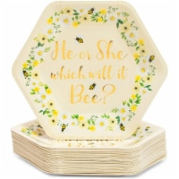 Bee Paper Plates for Gender Reveal Party (9 Inch Hexagon, 48 Pack) - PACK
