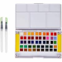 Watercolor Paint Set, 48 Colors, Water Brush Pens, Sponges, and Travel Storage Case - PACK