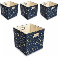 Okuna Outpost Blue Foldable Storage Bins, Moon and Stars Fabric Cubes (11 in, 4 Pack) - Pack
