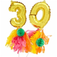 Gold Cake Topper Number Balloons, Number 30 Balloon (7.5 In) - PACK