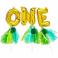 Mini ONE Balloon Cake Topper Letters, 1st Birthday Party Jungle Safari Décor - PACK