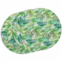 Indoor Outdoor Fern Leaf Placemat Set, Round Green Braided Placemats (15 in, 4 Pack) - Pack